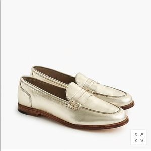 J Crew Ryan Loafer in Metallic Leather Gold Size 8